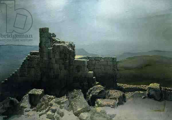 The Castle of Ajlun, Jordan, 1984 (w/c and pastel on handmade paper)
