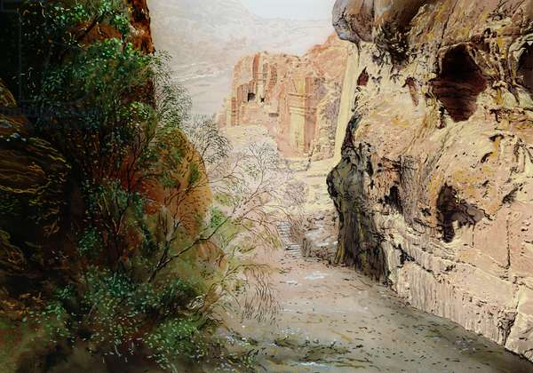 Descent from the High Place, Petra, Jordan, 1984 (w/c and pastel on handmade paper)