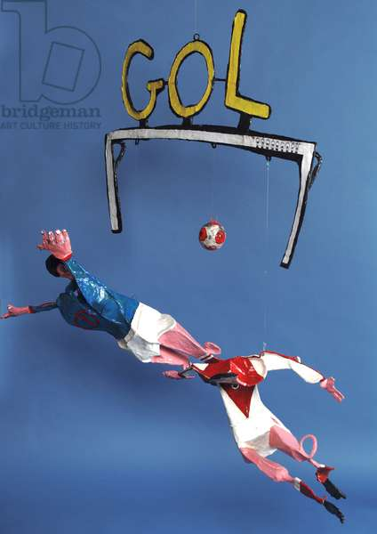 'Gol', mobile of a two footballers and a goal (papier mache)