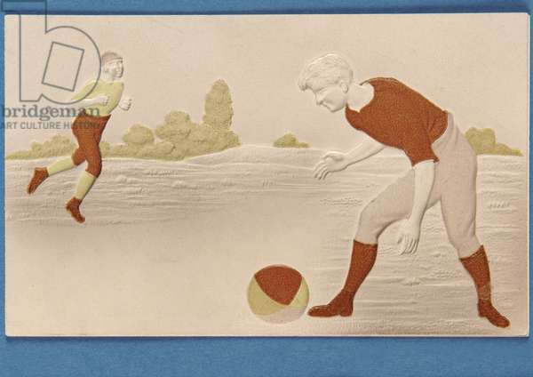 Blank card in relief depicting two footballers, c.1880s (colour litho)