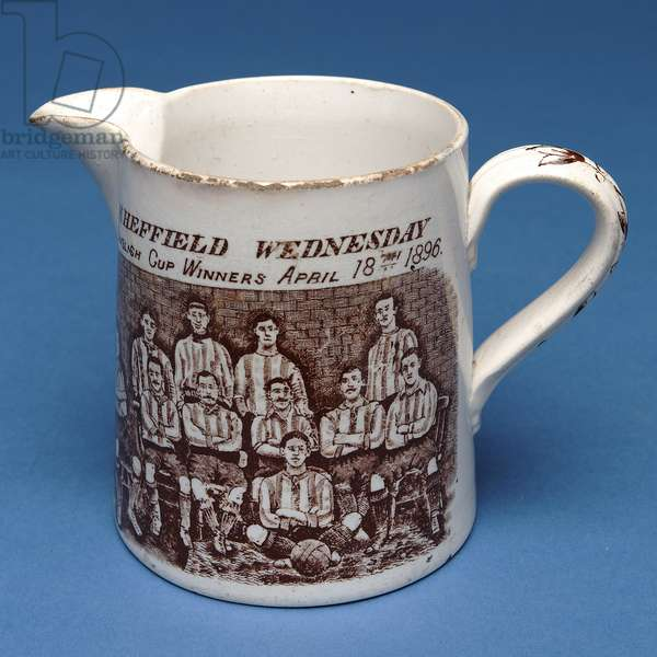 Jug decorated with the Sheffield Wednesday team, 1896 (ceramic)