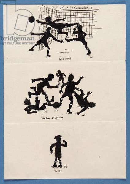 Three silhouettes of footballers (pen & ink on paper)