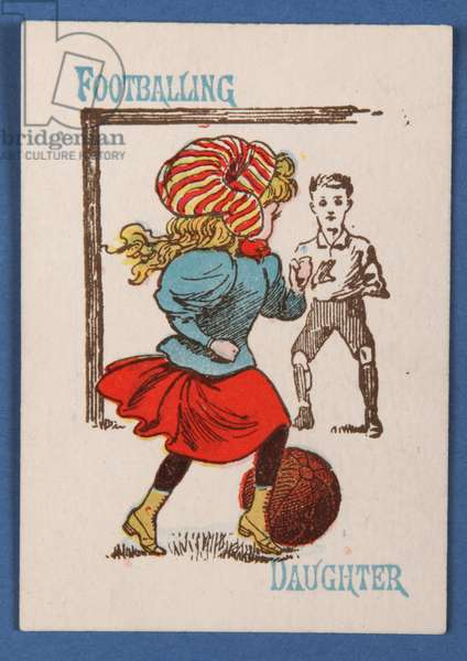 'Footballing Daughter', from the Happy Families card game, c.1890-1900 (colour litho)
