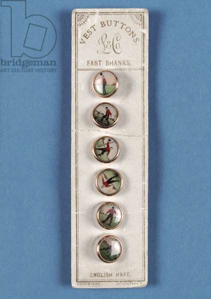 Set of six vest buttons on original card backing with photographic decorations of footballers