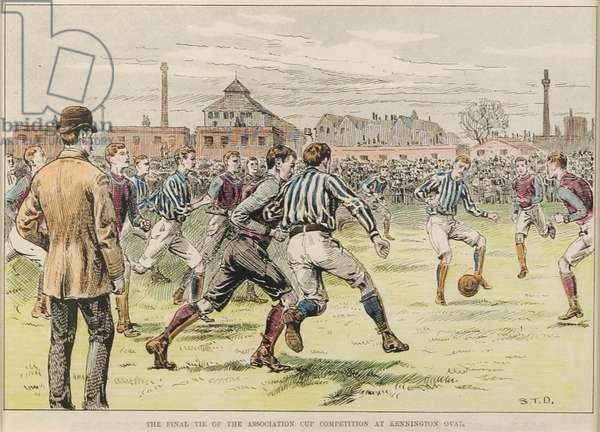 The final tie of the Association Cup Competition at Kennington Oval, 1892 (colour woodcut)