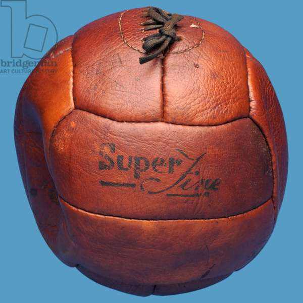 A twelve-panelled leather football, similar to Gamage's Referee football, c.1925-60 (leather)