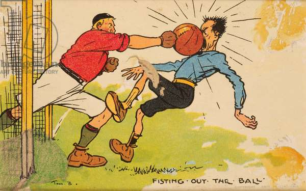 Fisting out the Ball, a mounted postcard (colour litho)