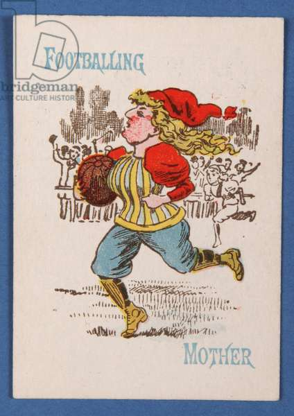 Footballing Mother, card from a Happy Families game, c.1890-1900 (colour litho)