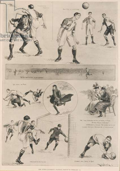 The Inter-University Football Match, 18th February 1899, from 'The Illustrated London News', 25th February 1899 (woodcut)