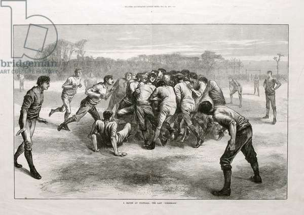 'A Match at Football: The Last Scrimmage', from 'The Illustrated London News', 25th November 1871 (litho)
