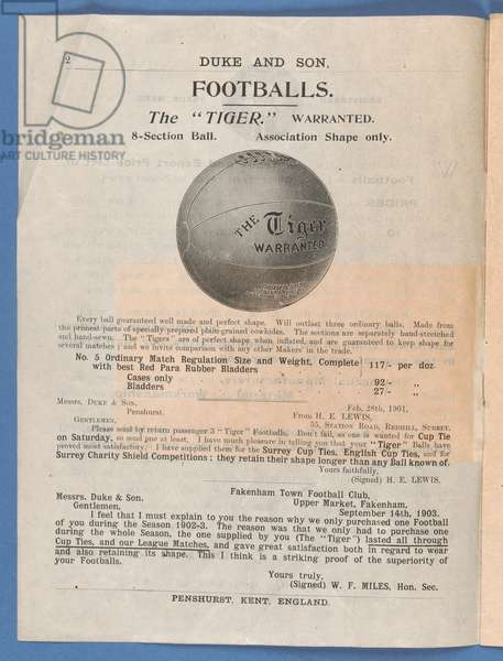 Page from a Duke & Son equipment catalogue featuring the 'Tiger' football, 1904 (litho)