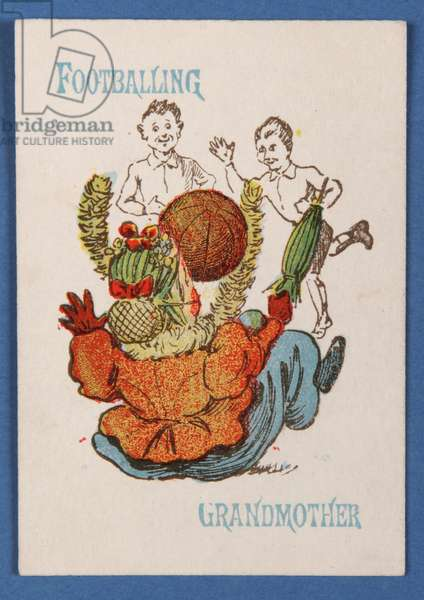 'Footballing Grandmother' from the Happy Families card game, c.1890-1900 (colour litho)