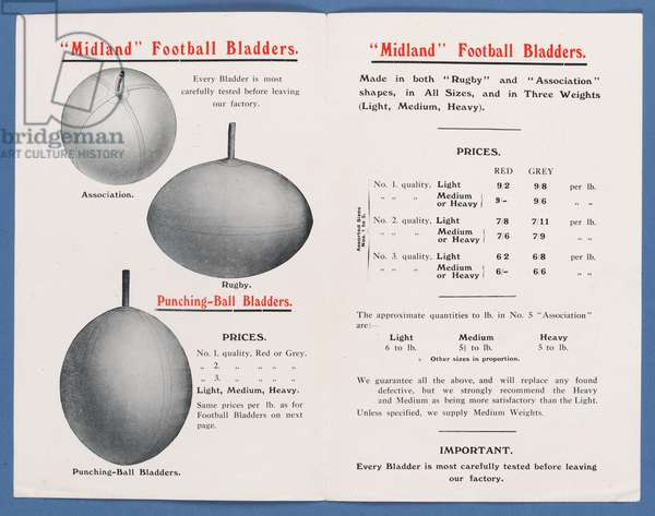 Page from an equipment catalogue produced by the Midland Rubber Co., Ltd., 1911-12 (litho)