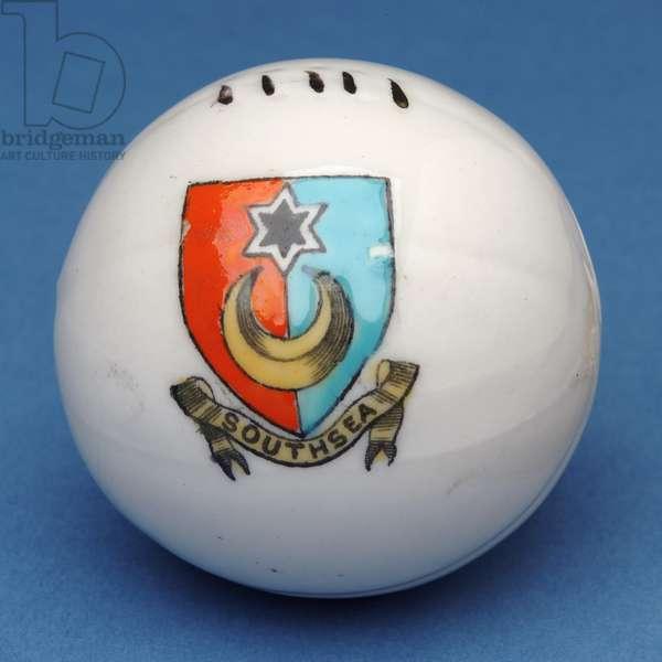 Armorial souvenir miniature football with transfer of the Southsea crest (ceramic)