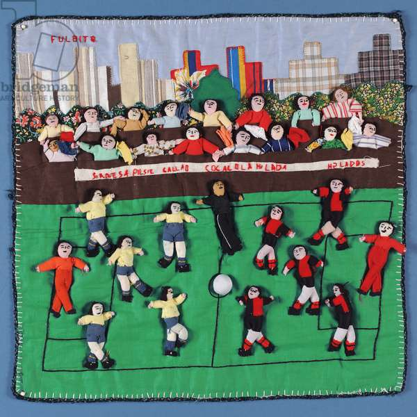 Fabric collage of a football match in Peru (textile)