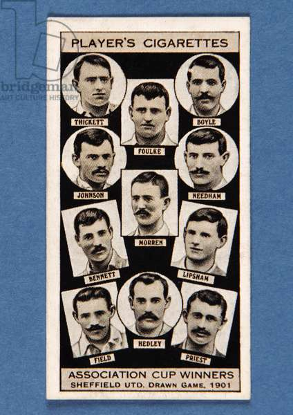 Sheffield United, Drawn Game, 1901, no.22 from the 'Association Cup Winners' series of 'Player's Cigarettes' cards (litho)