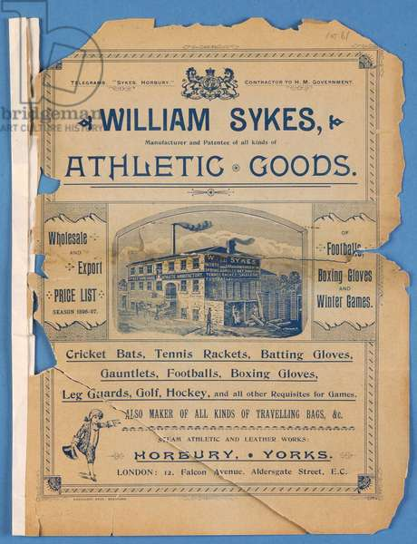Equipment catalogue produced by William Sykes, 1896 (litho)