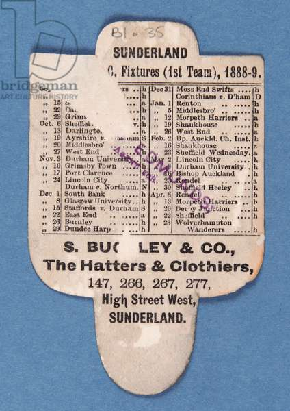 Reverse side of 'Can't be Beaten. Play Up Sunderland. Buckley's Hats' (colour litho)