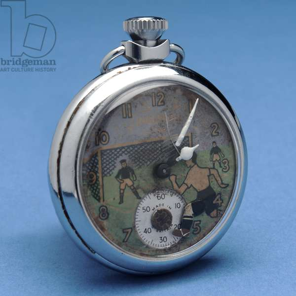 Pocket watch with a pictorial face depicting a footballer (metal)