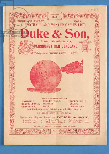 Equipment catalogue produced by Duke & Son, 1903 (litho)