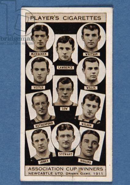 Newscastle United, Drawn Game, 1911, no.34 from the 'Association Cup Winners' series of 'Player's Cigarettes' cards (litho)