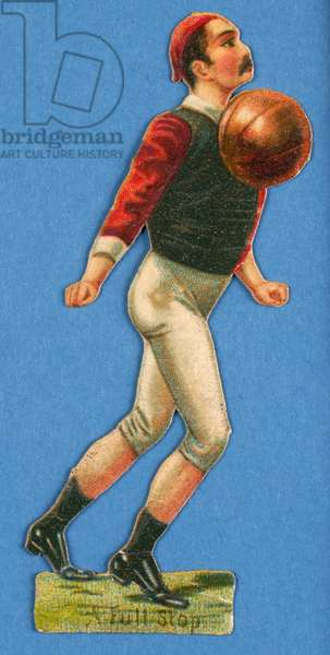 'A Full Stop', cut-out of a footballer, 1880s-90s (colour litho)