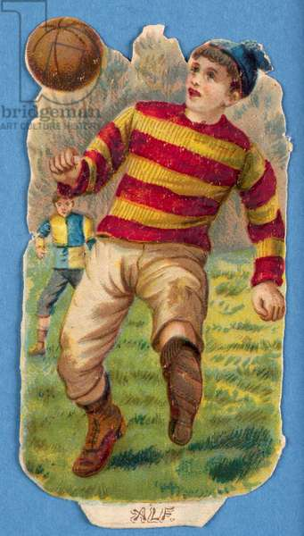 'Alf', cut-out of a footballer, 1880s-90s (colour litho)