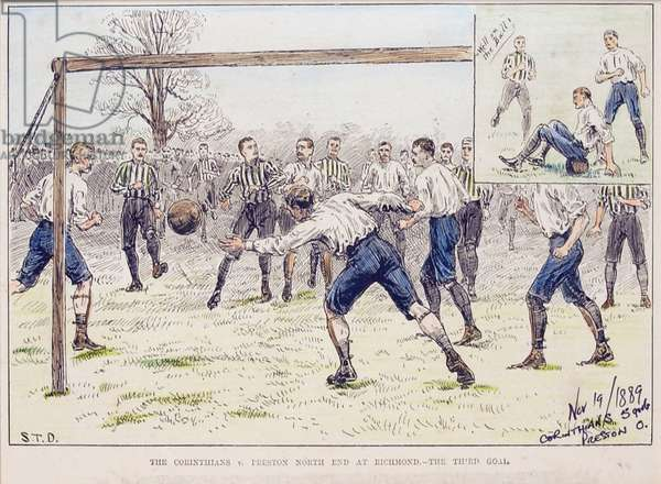 The Corinthians vs. Preston North End at Richmond - The Third Goal, from 'The Illustrated Sporting and Dramatic News', 19th November 1889 (colour litho)