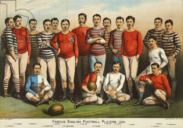 Famous English football players of 1881, from 'Boy's Own' (colour litho)