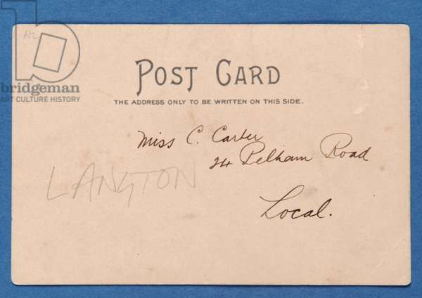 Reverse side of J.E. Doig (Sunderland) Saving a Goal postcard, (colour litho) (pair of 315189)