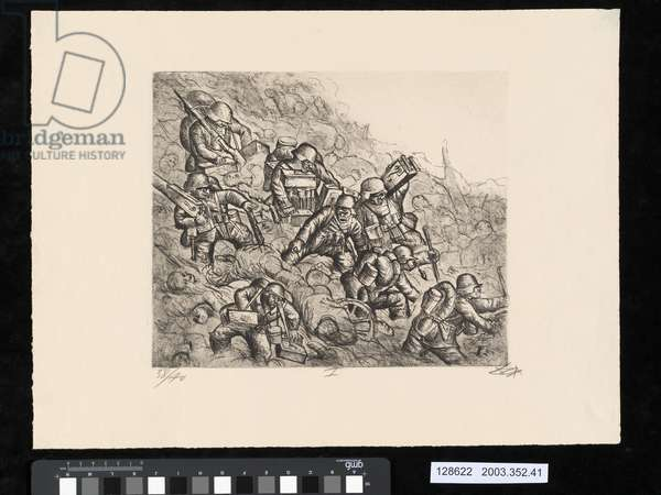 Machine-gun company advancing, Somme, November 1916, illustration from the portfolio 'Der Krieg', 1924 (etching & aquatint)