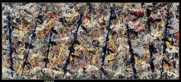 Blue Poles, 1952 (oil, enamel, aluminium paint & glass on canvas)