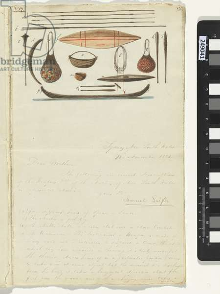 Weapons including four different types of spear or lance, the hootia or fish gig, the nulla nulla and the wamareen, from a manuscript addressed to the Wesleyan Missionary Society by Samuel Leigh, 1821 (pen & ink and w/c on paper)