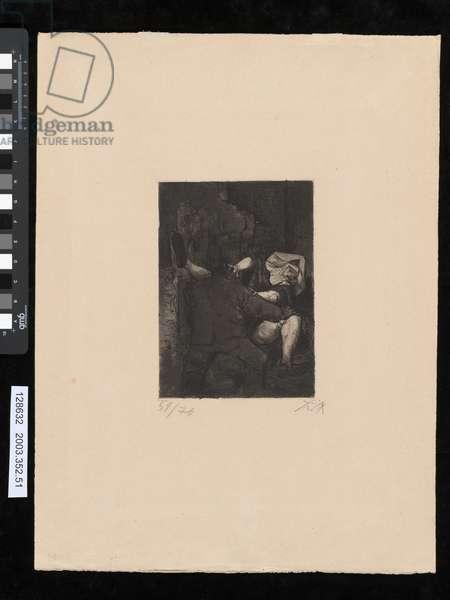 Soldier raping a nun, illustration from the portfolio 'Der Krieg', 1924 (etching, aquatint & drypoint)