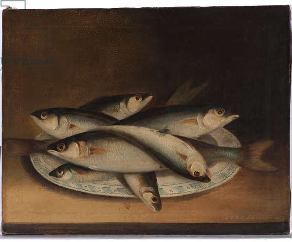 Fish on a blue and white plate, 1845 (oil on canvas)