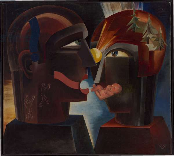 Imaginary Bridge (Two Heads), 1926 (oil on canvas)