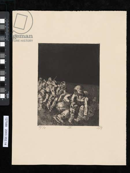 Company resting, illustration from the portfolio 'Der Krieg', 1924 (etching & aquatint)