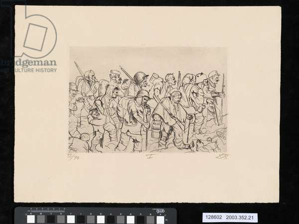 Battle weary troops retreating, Battle of the Somme, illustration from the portfolio 'Der Krieg', 1924 (etching)