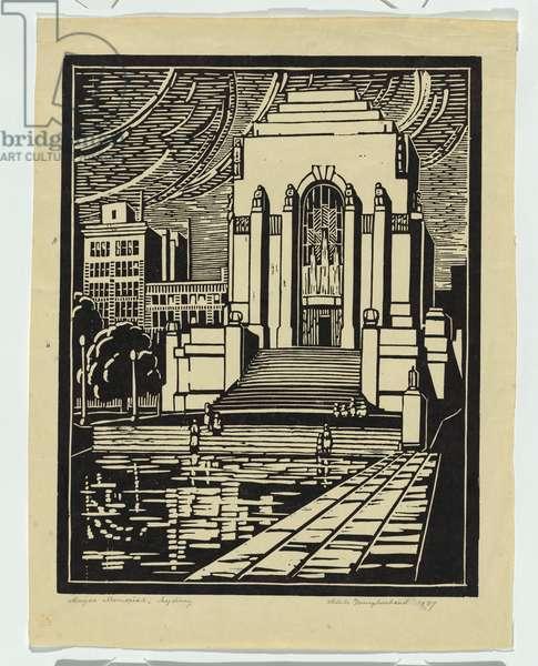 Anzac Memorial, Sydney, 1937 (linocut)