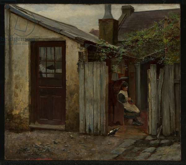 Girl with bird at the King Street Bakery, 1886 (oil on canvas)