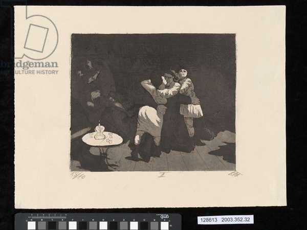 Sailors in Antwerp, illustration from the portfolio 'Der Krieg', 1924 (etching, aquatint & drypoint)