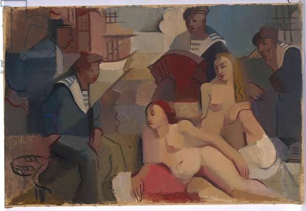 Sailors and Models, c.1928 (oil on canvas)