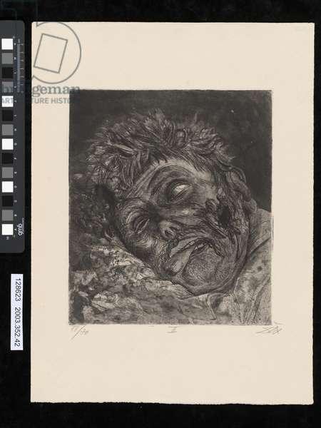 Dead man, St Clement, illustration from the portfolio 'Der Krieg', 1924 (etching, aquatint & drypoint)