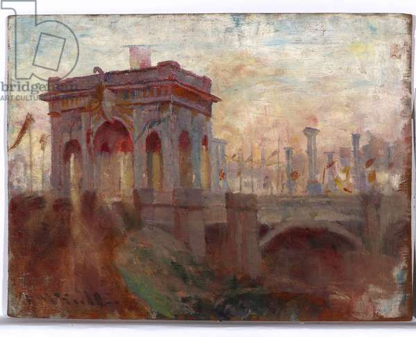 Triumphal Arch at Princes Bridge, Melbourne, 1901 (oil on wood panel)