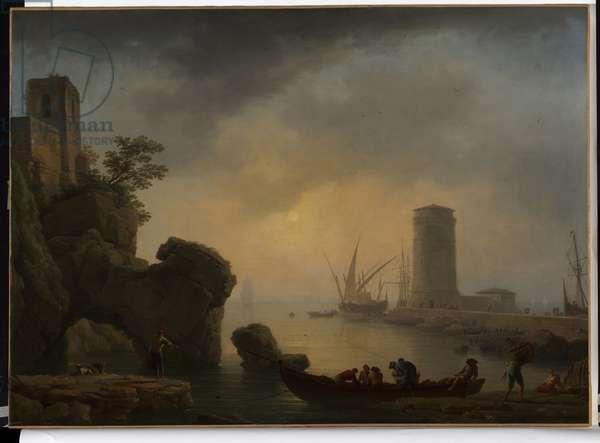 Mediterranean Port, Calm Weather, c.1745 (oil on canvas)