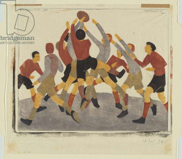 Football, 1936 (colour linocut)