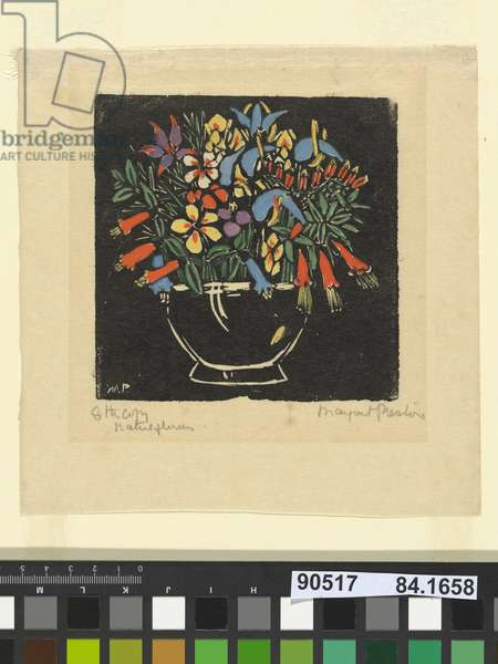 Bowl of native flowers, 1925 (hand-coloured litho)