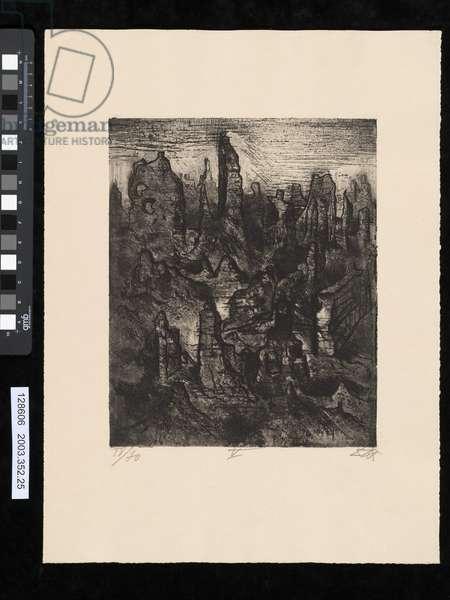 The ruins of Langemark, illustration from the portfolio 'Der Krieg', 1924 (etching & aquatint)