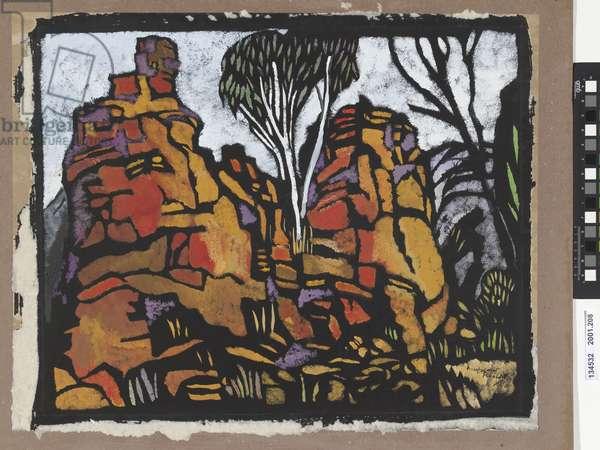 Rocks in Roper River, 1953 (hand-coloured print)