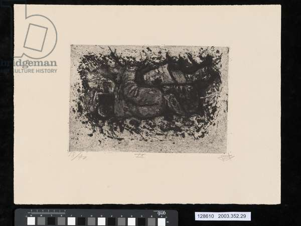 Found while digging a trench, illustration from the portfolio 'Der Krieg', 1924 (etching & aquatint)
